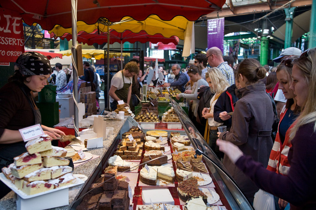 Borough_Market_cake_stall,_London,_England